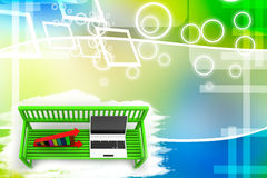 Green bench with Graph And Laptop Illustration Stock Images