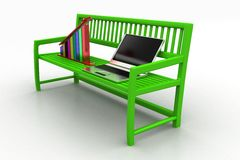 Green bench with Graph And Laptop on white background Stock Image