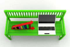 Green bench with Graph And Laptop on white background Royalty Free Stock Photos