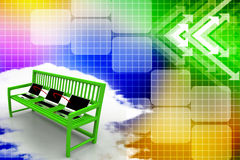 Green bench with Laptop Network  Illustration Stock Image