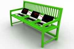 Green bench with Laptop Network on white background Royalty Free Stock Photo