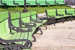 Green bench Stock Image