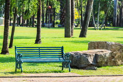Green Bench in Palm Garden Background Royalty Free Stock Photos