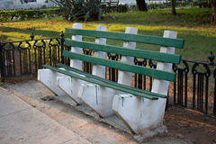 A green bench. In a park in Habana (Cuba Royalty Free Stock Photo