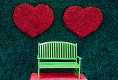 The Green bench with red heart Royalty Free Stock Photography