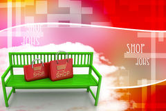 Green bench with shopping bags Illustration Royalty Free Stock Photography