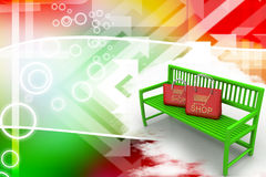 Green bench with shopping bags Illustration Royalty Free Stock Photo