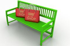 Green bench with shopping bags on white background Stock Photography