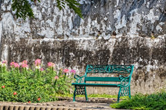Green Bench in Sunshine Morning Royalty Free Stock Image