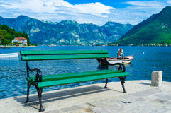 The green bench Royalty Free Stock Photography