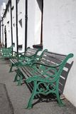 Green Benches Royalty Free Stock Photo