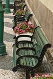 Green benches. Near a wall Stock Photo