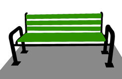 The green benches on grey background Royalty Free Stock Photography