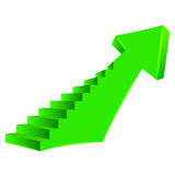Green bended arrow up direction with staircase on side Royalty Free Stock Photo