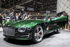 Green Bentley concept car. Front view of green Bentley EXP 10 concept car surrounded by crowd at car show in Geneva, Switzerland Royalty Free Stock Photos