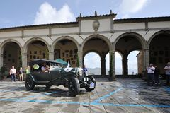 A green Bentley 3 litre takes part to the GP Nuvolari classic car race on September 20, 2014 in Castiglion Fiorentino (AR) Stock Images