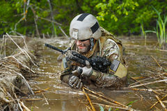 Green Beret in action stock photo
