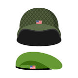 Green Beret. Army helmet. Military set of headgear. Vector illus Royalty Free Stock Photography