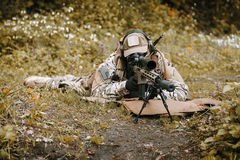 Green Berets sniper. Green Berets US Army Special Forces Group sniper in action Royalty Free Stock Image