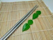 Green bergamot on the plank stock images