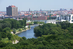 Green Berlin. Panorama of Berlin, Germany, with lots of parks, green spaces and the river Spree Royalty Free Stock Photography