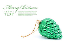 Green berries christmas bulb. On white background with copy space stock images