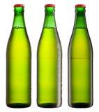 Green beverage bottles Stock Photo