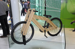 Green Bicycle. A green bicycle in the exhibition hall,in 2010 international Auto-show GuangZhou. it is from 20/12/2010 to 27/12/2010. photo taken on 25 Dec. 2010 Stock Photo