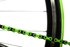 Green bicycle chain Royalty Free Stock Images