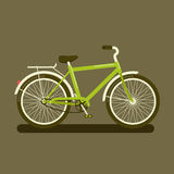 Green bicycle on dark background. Vector illustration of a green bicycle a side view on dark background Royalty Free Stock Photos