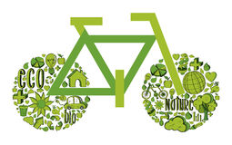 Green Bicycle with environmental icons Royalty Free Stock Images