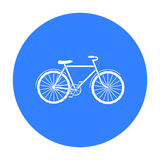 Green bicycle icon in outline style isolated on white background. Bio and ecology symbol stock vector illustration. Stock Photography