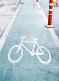 green Bicycle lane Stock Photos