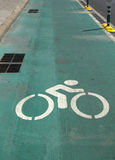 Green bicycle lane. Sign of bicycle green lane, on street of Bangkok city, Thailand Stock Images