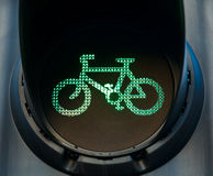 Green bicycle traffic light. Green traffic light on cycle track Royalty Free Stock Images
