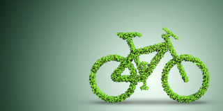 The green bicycle in transportation concept - 3d rendering Stock Photography