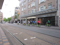 Green bicycles. A group of green bicycles in Amsterdam, Holland Stock Photography