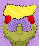 Green big Boxer Monster pop art with an empty bubble text. Gobli. N Winner, champion Galaxy MMA boxing. Vector Retro illustration comics Royalty Free Stock Photo