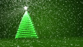 Green big Christmas tree from glow shiny particles on the left side of screen. Winter theme for Xmas or New Year. Big Christmas tree from glow shiny particles on stock video footage