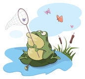 Green big frog. Cartoon Stock Photo