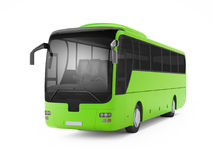 Green big tour bus isolated on a white background. Royalty Free Stock Photography