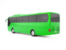 Green big tour bus isolated on a white background. Stock Photo