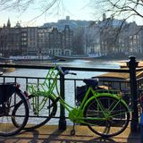 Green bike in. Amsterdam and bikes Royalty Free Stock Photo