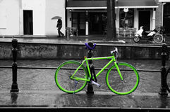 Green Bike, Black & White Background, Urban Dutch Scene Stock Images