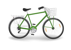 Green bike with basket. On white background. Vector illustration royalty free illustration