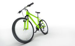 Green bike goes to the left isolated on white background. Sport. Green bike goes to the left isolated on white background Royalty Free Stock Photography