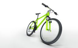 Green bike goes to the right isolated on white background. Sport. Green bike goes to the right isolated on white background Stock Photos