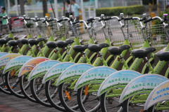 The green bike in SHENZHEN CHINA AISA Stock Photography
