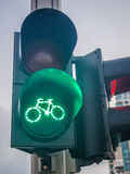 Green biking traffic light Royalty Free Stock Images
