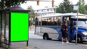 Green billboard for your ad at bus station stock video footage